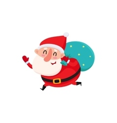 Funny Santa Claus running with bag of Christmas vector image