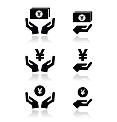 Hands with yen banknote coin icons set vector image vector image