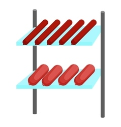 Shelves with sausages icon cartoon style vector image