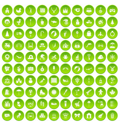 100 happy childhood icons set green circle vector image vector image