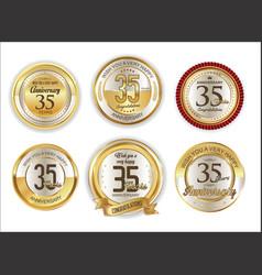 Anniversary golden labels retro vintage vector