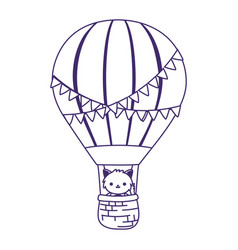 baby shower cute little cat in air balloon vector image
