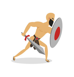 bald man gladiator moving to attack his opponent vector image