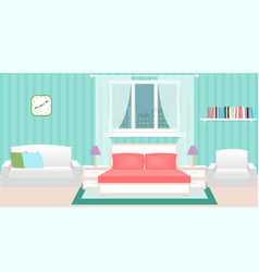 bedroom interior with furniture and cityscape vector image