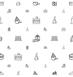 birthday icons pattern seamless white background vector image