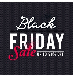 Black friday sale banner on knitwear background vector