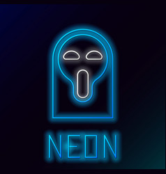 Blue glowing neon line funny and scary ghost mask vector