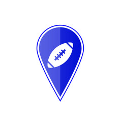 blue map pointer with football ball vector image