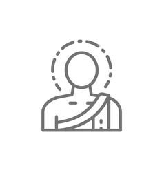 Buddha buddhist monk line icon vector