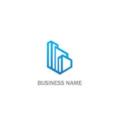 building line cityscape logo vector image