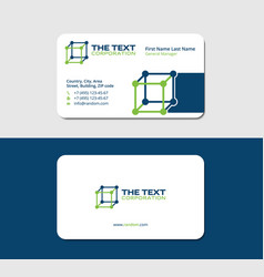 Business card laboratory blue and green colors vector