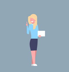 business woman hold white empty card office worker vector image