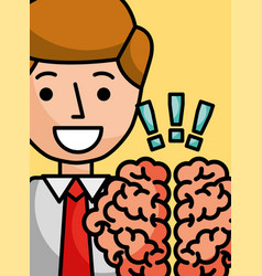 Businessman cartoon brain creativity exclamation vector