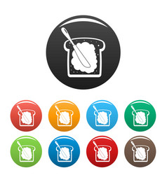 Butter on bread icons set color vector