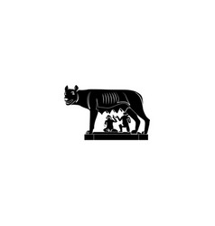 Capitol wolf she-wolf romulus and remus black vector