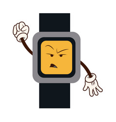 Cartoon watch clock angry character vector