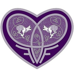 Celtic heart with two cats inside vector
