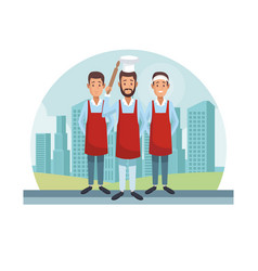 chef and waiters vector image