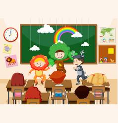 Children performing infront of class vector