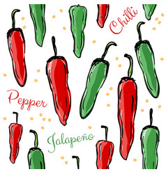 Chilli peppers seamless pattern vector