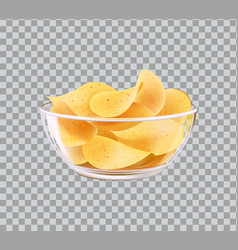 Chips in glass bowl snack to beer fast food meal vector
