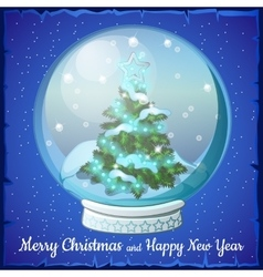 christmas ball with snowflakes and tree inside vector image