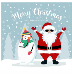 christmas card with santa and snowman vector image