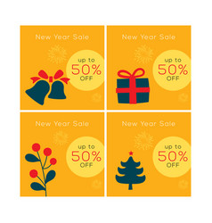 christmas sale yellow banner design set happy n vector image