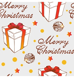 Christmas seamless pattern with gift vector image
