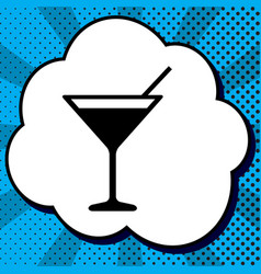cocktail sign black icon in vector image