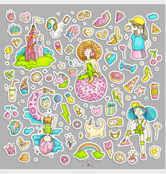 colored set teenage girl stickers cute cartoon vector image