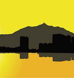 Contour Hong Kong city on a yellow background vector