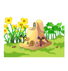 Cool brown ant house with yellow flower cartoon vector