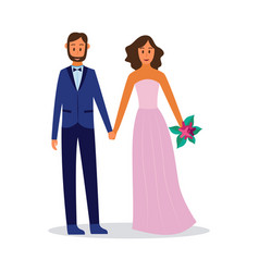 couple in love in evening or wedding outfit flat vector image