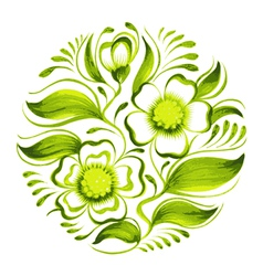 decorative circle branch of green tea with flowers vector image