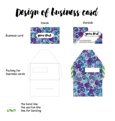 design of business card with packing vector image