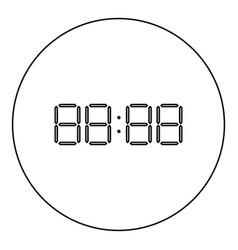 digital clock face icon black color in round vector image