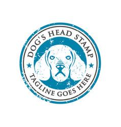 dog head stamp logo design template vector image
