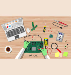engineer with multimeter check electronic board vector image
