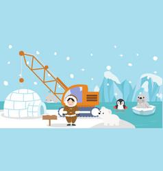 eskimo with artic animal iceberg vector image