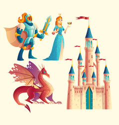 fantasy set - knight princess dragon vector image