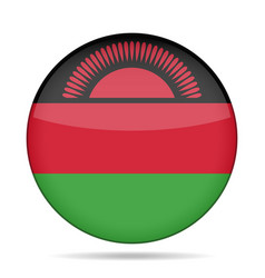 Flag of malawi shiny round button vector