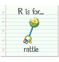 Flashcard letter r is for rattle vector