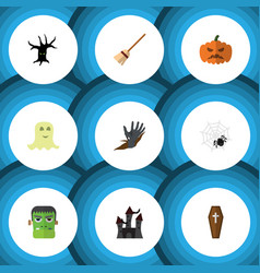 flat icon halloween set of zombie terrible vector image