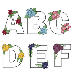 Floral alphabet isolated letters with vector