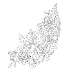 flowers for coloring book for adults vector image