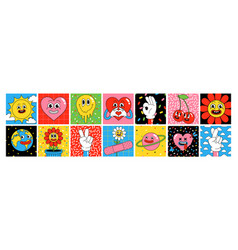funny cartoon characters square posters sticker vector image