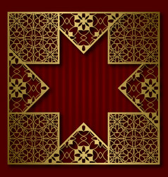 Golden cover frame in eight pointed star form vector