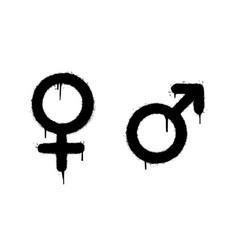 Graffiti gender symbols male and female sprayed vector
