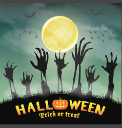 halloween zombie hand in a night graveyard vector image